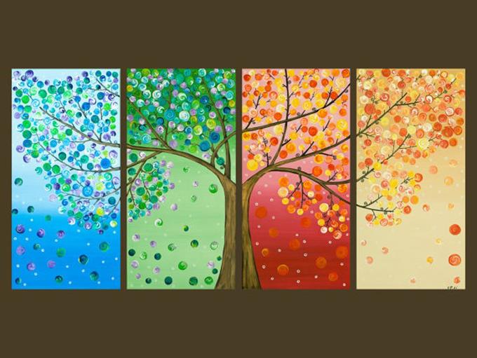 Calendar Ideas Ks1 : Οι εποχές σε καμβά Υπέροχος πίνακας με οδηγίες βήμα