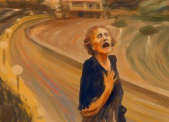 Η συγκλονιστική φωτογραφία της 81χρονης γιαγιάς στη φωτιά της Εύβοιας και το σκίτσο που μοιάζει με την «Κραυγή» του Μουνκ